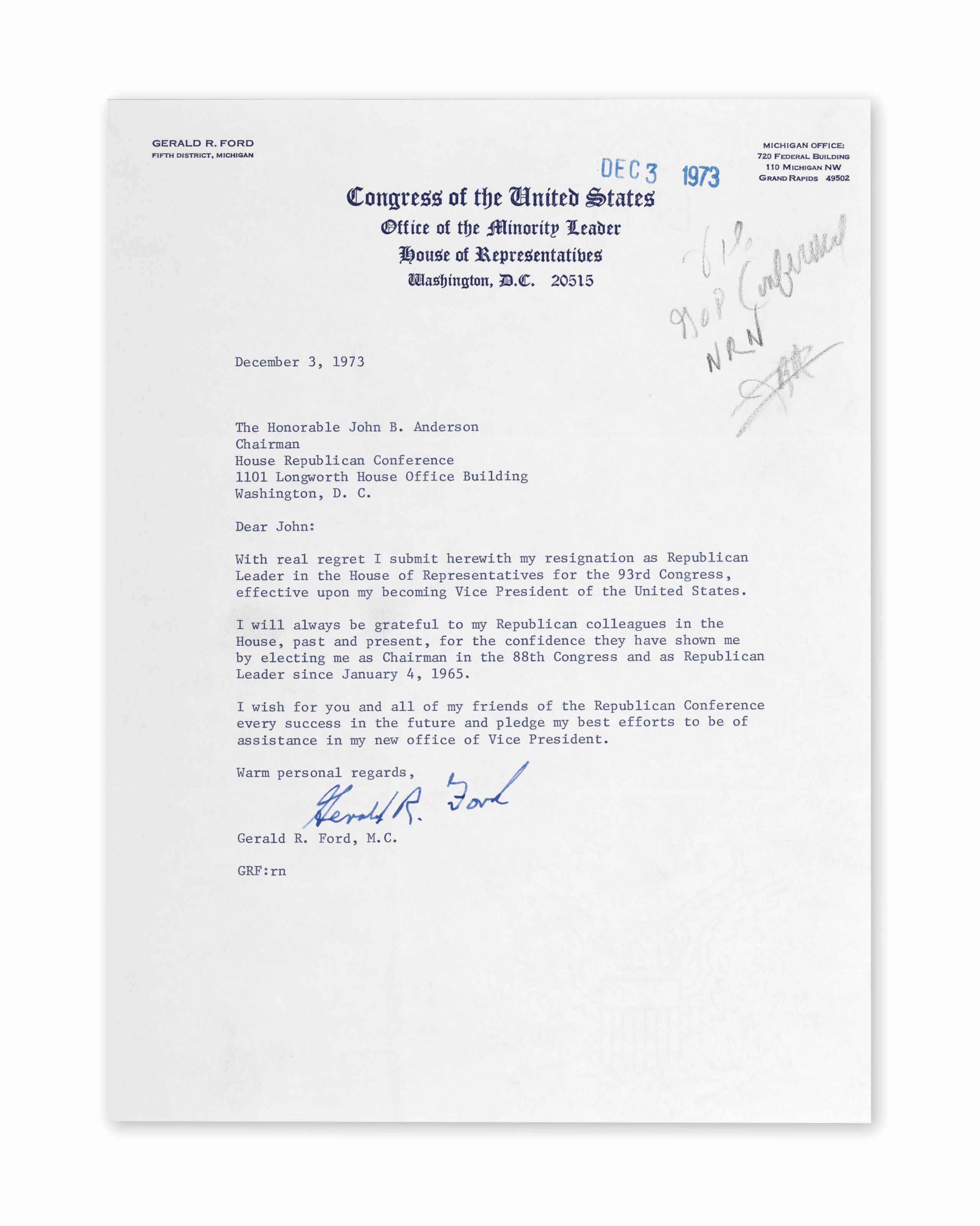"""FORD, Gerald (1913-2006) Typed letter signed (""""Gerald R Ford..."""