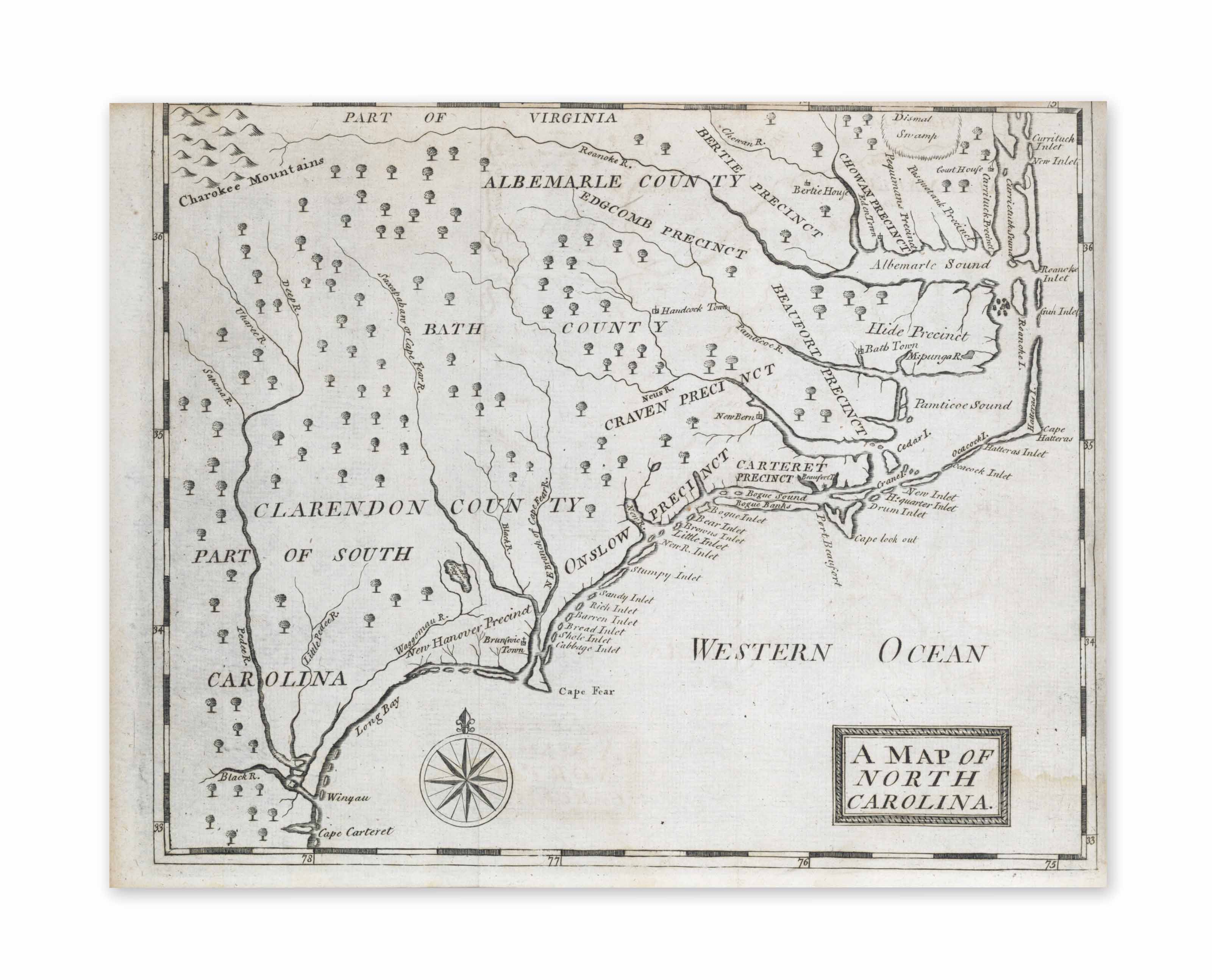 BRICKELL, John (c.1710-1745). The natural history of North-Carolina. With an account of the trade, manners, and customs of the Christian and Indian inhabitants. Illustrated with copper-plates, whereon are curiously engraved the map of the country, several strange beasts, birds, fishes, snakes, insects, trees, and plants. Dublin: James Carson, 1737.