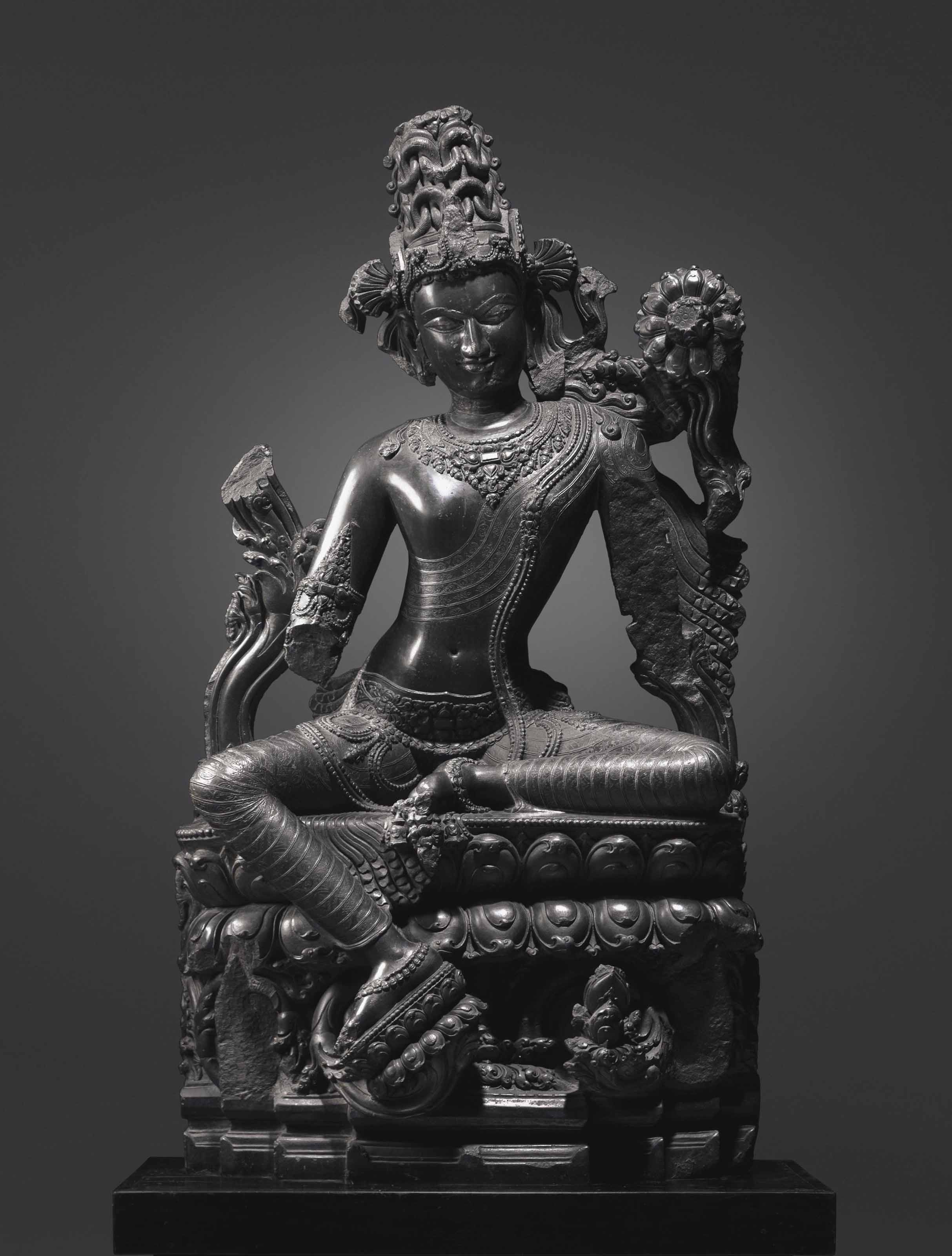 A Large and Important Black Stone Figure of Lokanatha Avalokiteshvara