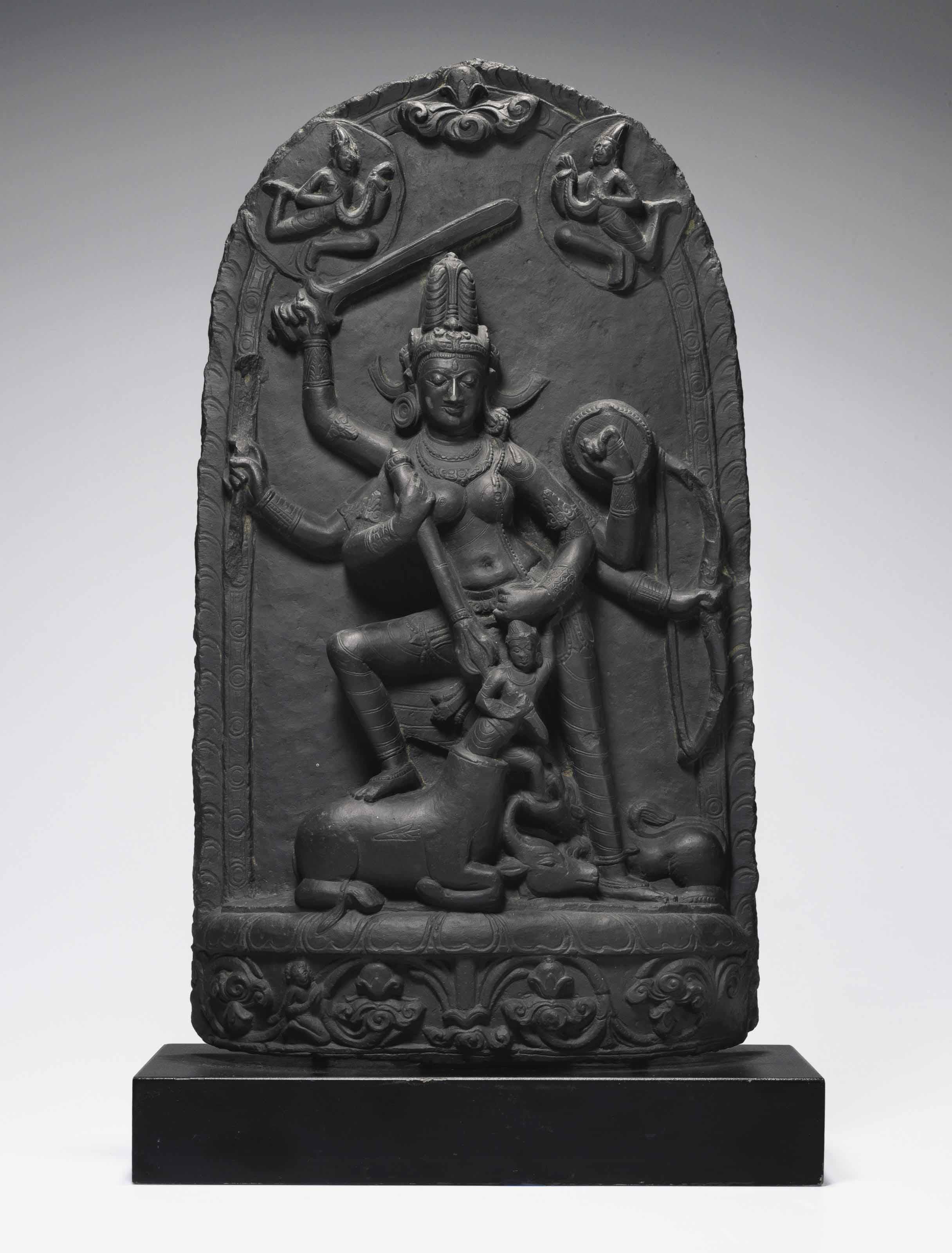 A black stone stele of Durga Mahishasuramardini