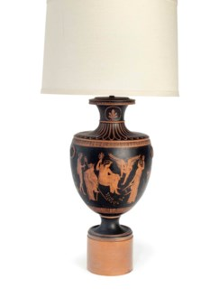 AN ETRUSCAN STYLE TERRACOTTA TABLE LAMP BY WILLIAM HAINES