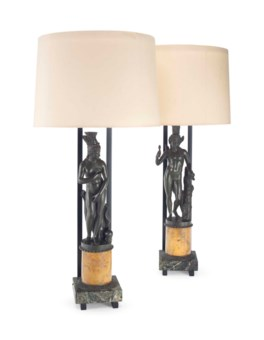 A PAIR OF FRENCH BRONZE AND MARBLE TABLE LAMPS BY WILLIAM HAINES