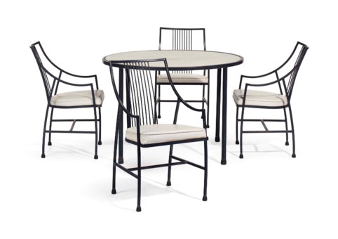 A SUITE OF BLACK PAINTED METAL FURNITURE BY WILLIAM HAINES