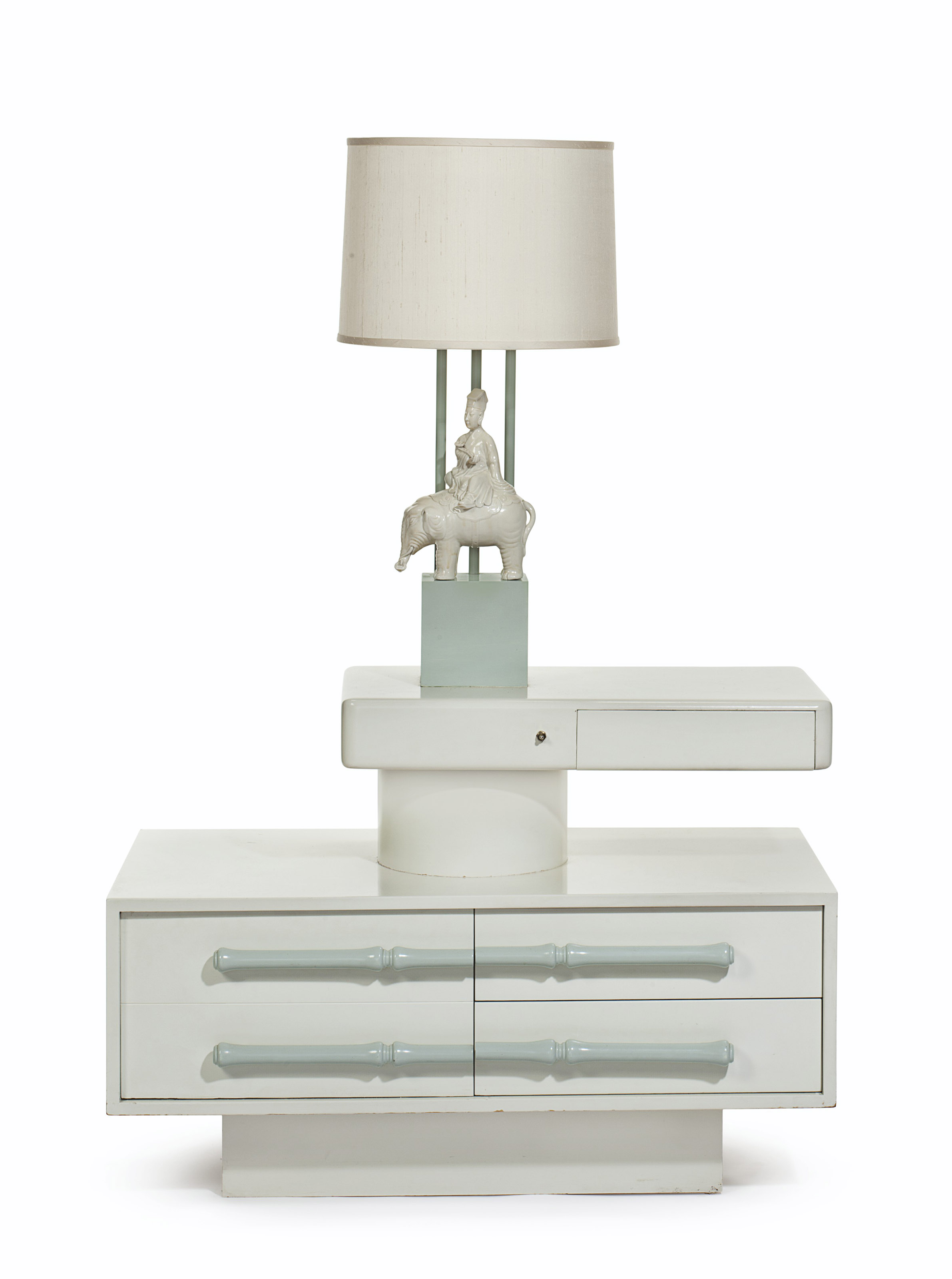 Cream Bedside Tables: A PAIR OF CREAM AND CELADON-LACQUERED 'SWING ARM' BEDSIDE