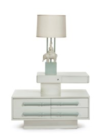 A PAIR OF CREAM AND CELADON-LACQUERED 'SWING ARM' BEDSIDE TABLES