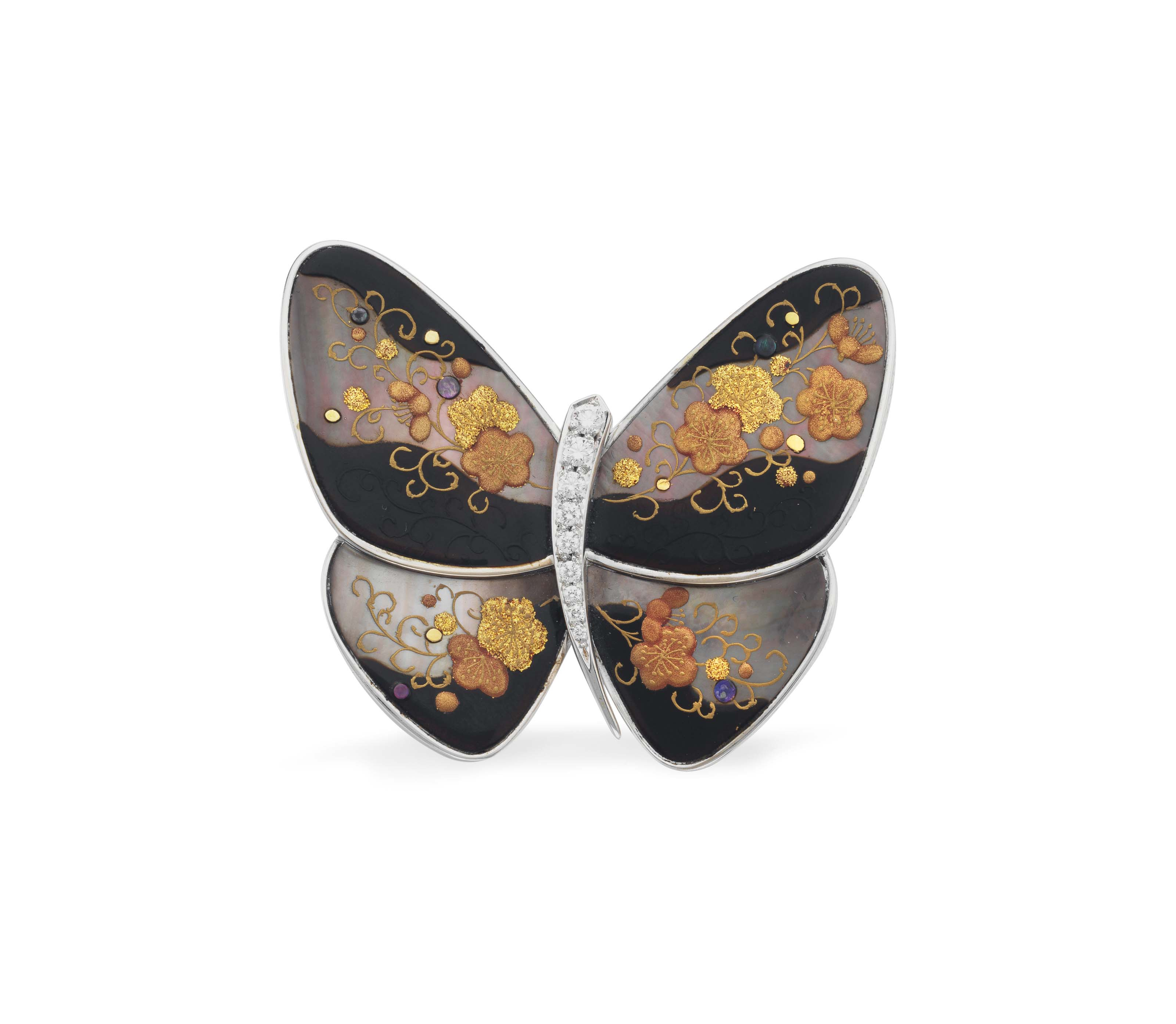~A DIAMOND, MOTHER-OF-PEARL AND LACQUER 'UME' BUTTERFLY BROOCH, BY VAN CLEEF & ARPELS