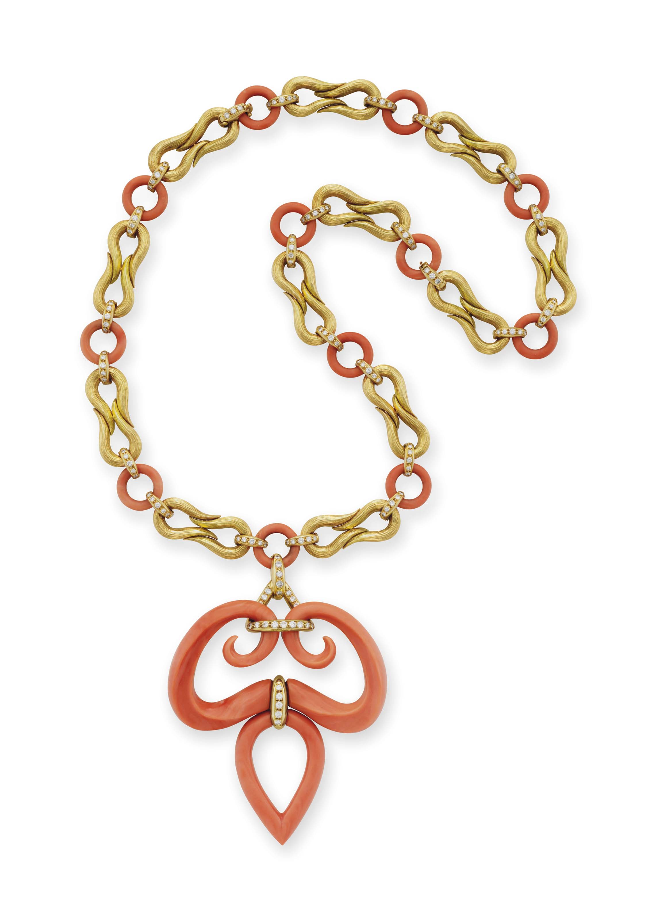 ~A CORAL, DIAMOND AND GOLD SAUTOIR, BY VAN CLEEF & ARPELS