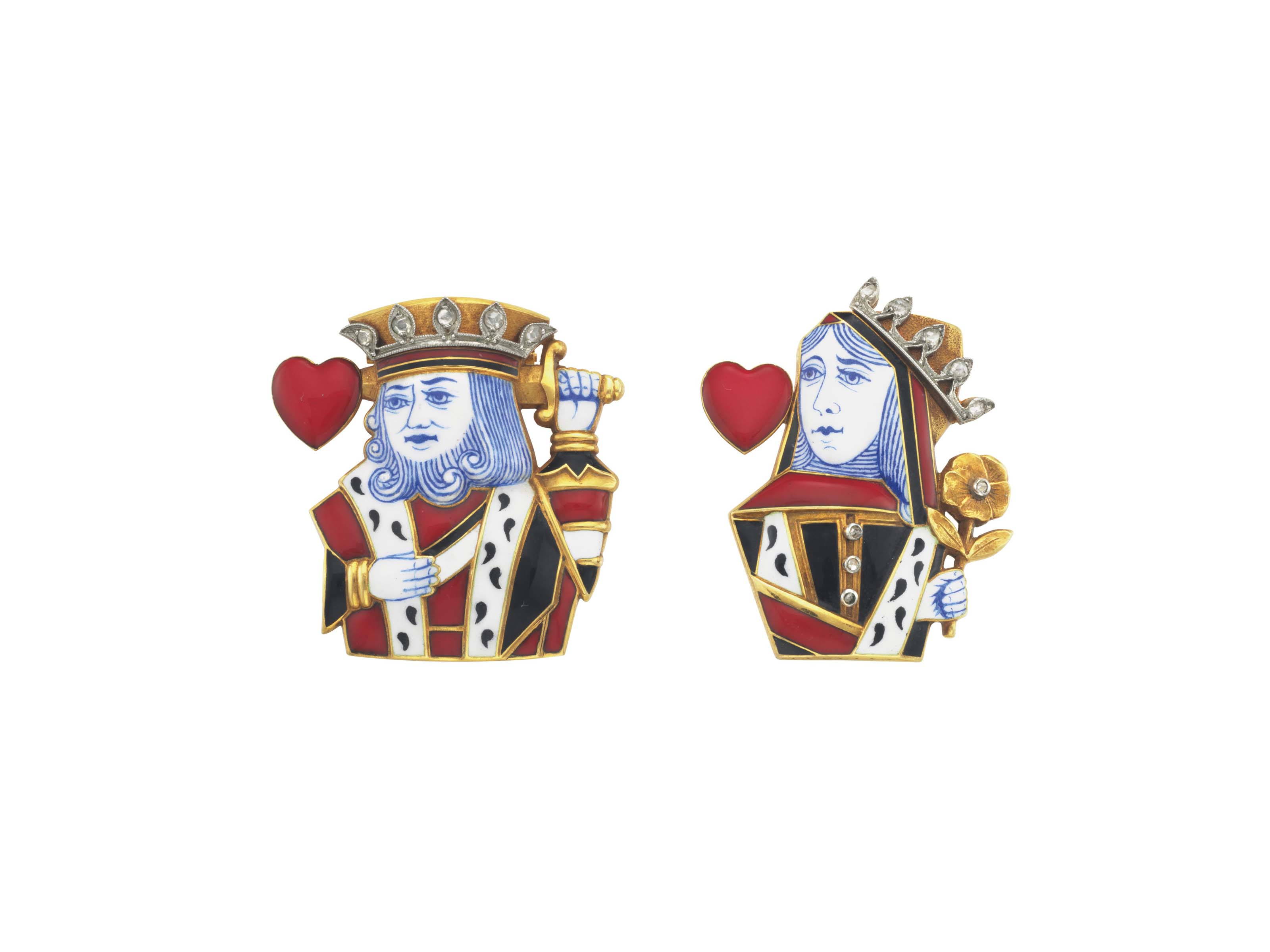 A PAIR OF ART DECO DIAMOND AND ENAMEL 'KING OF HEARTS' AND
