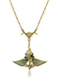 AN ART NOUVEAU ENAMEL, PEARL, DIAMOND AND GOLD PENDANT NECKLACE, BY LUCIEN GAUTRAIT