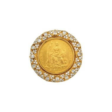 A diamond and coin brooch, by Bulgari. Sold for $25,000 on 26 April 2017 at Christie's in New York