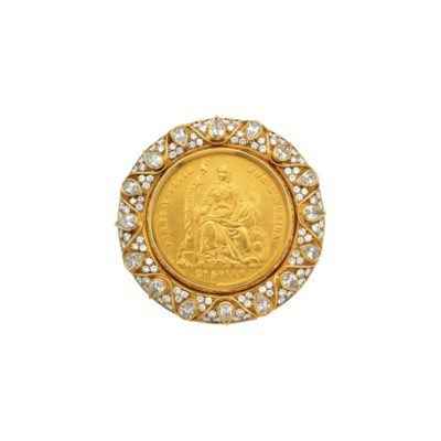 A DIAMOND AND COIN BROOCH, BY
