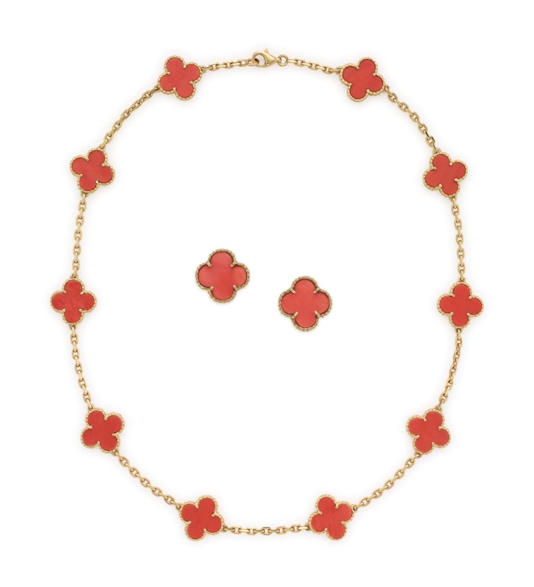 A set of coral and gold Alhambra jewellery, by Van Cleef & Arpels. Sold for $22,500 on 26 April 2017  at Christie's in New York