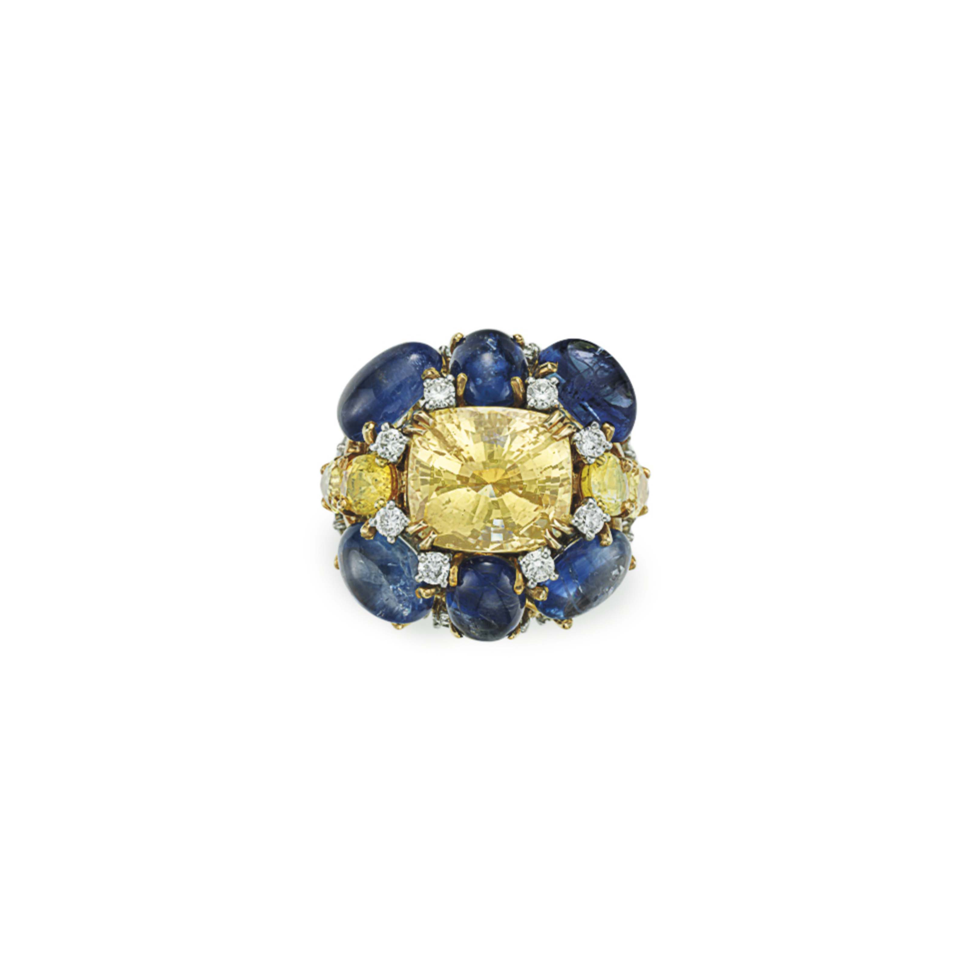 A COLORED SAPPHIRE, SAPPHIRE AND DIAMOND RING, BY DAVID WEBB