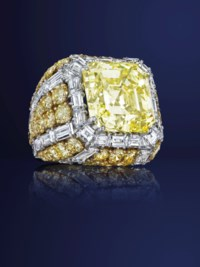 A COLORED DIAMOND AND DIAMOND RING, BY DAVID WEBB