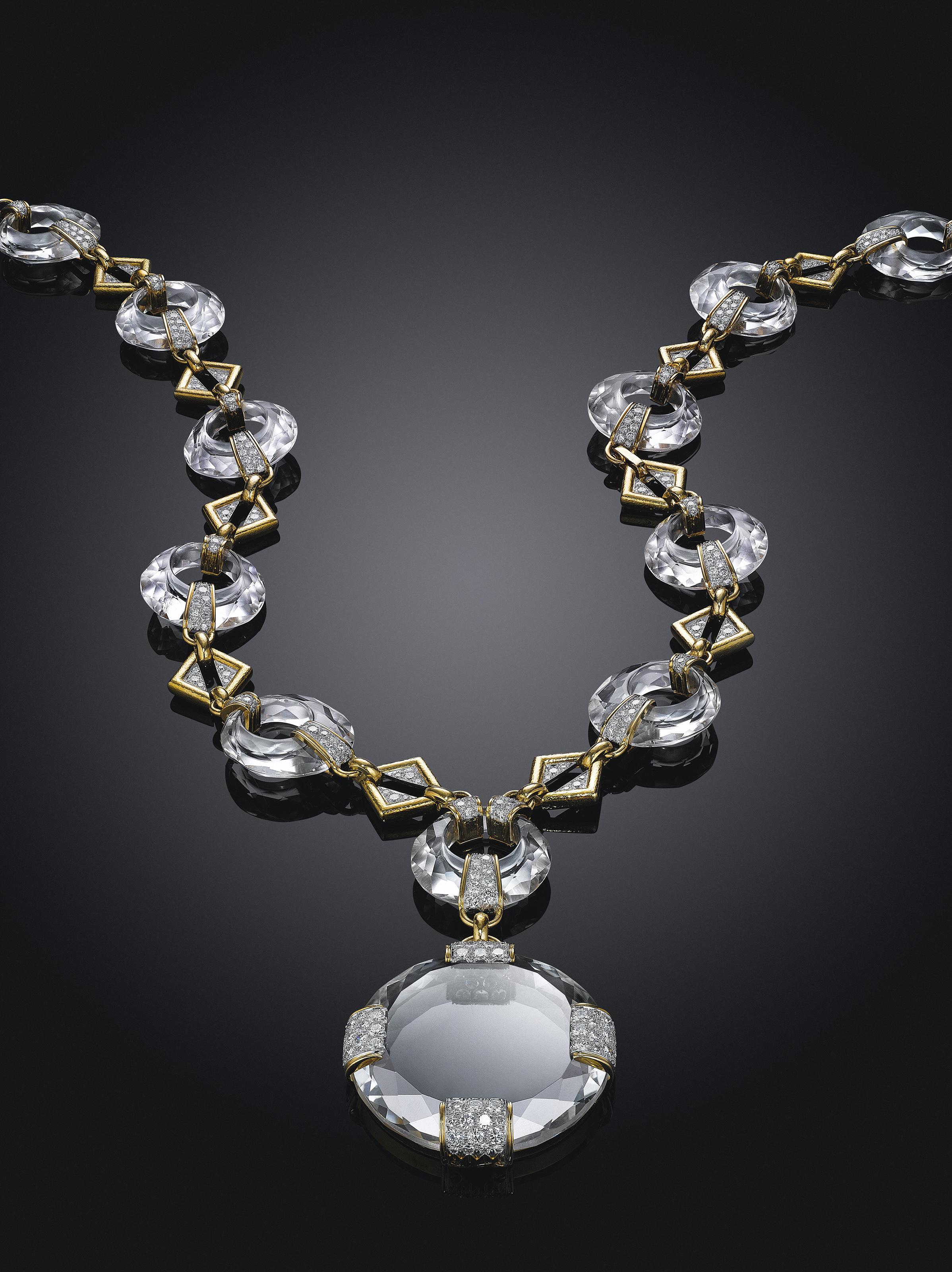 A ROCK CRYSTAL, DIAMOND AND GOLD SAUTOIR, BY DAVID WEBB