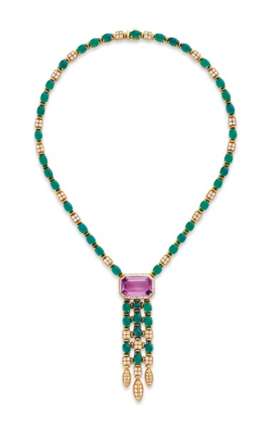 A tourmaline, emerald and diamond necklace, by Bulgari. Sold for $37,500 on 20 June 2017 at Christie's in New York