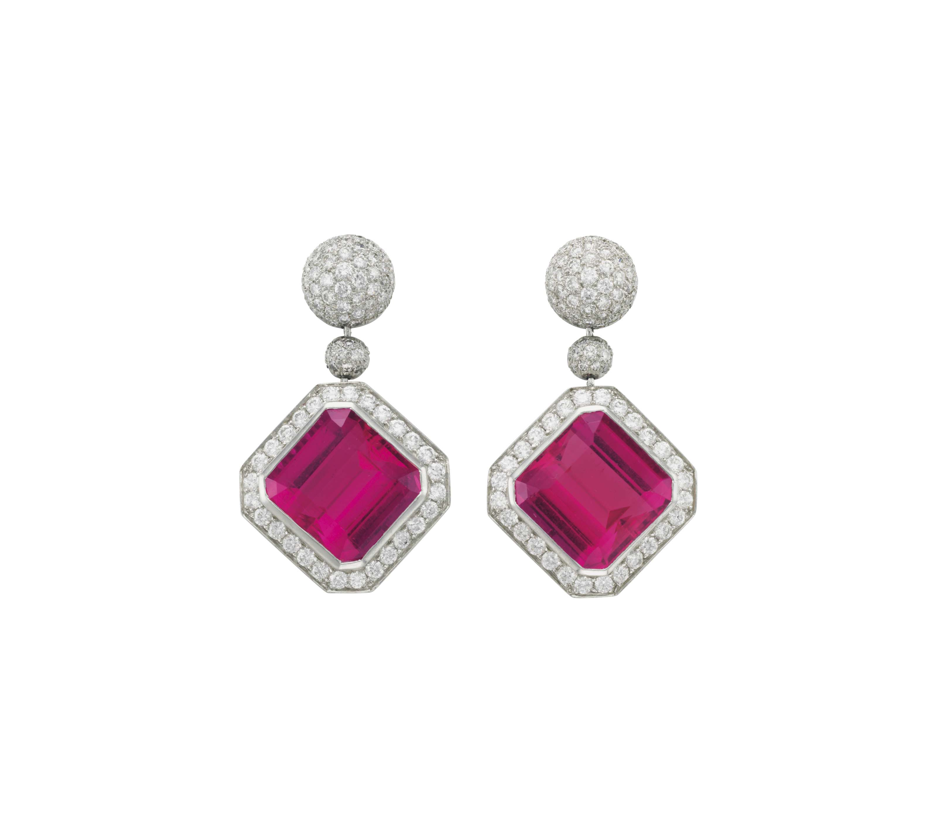 A PAIR OF RUBELLITE TOURMALINE AND DIAMOND EAR PENDANTS, BY PALOMA PICASSO, TIFFANY & CO.
