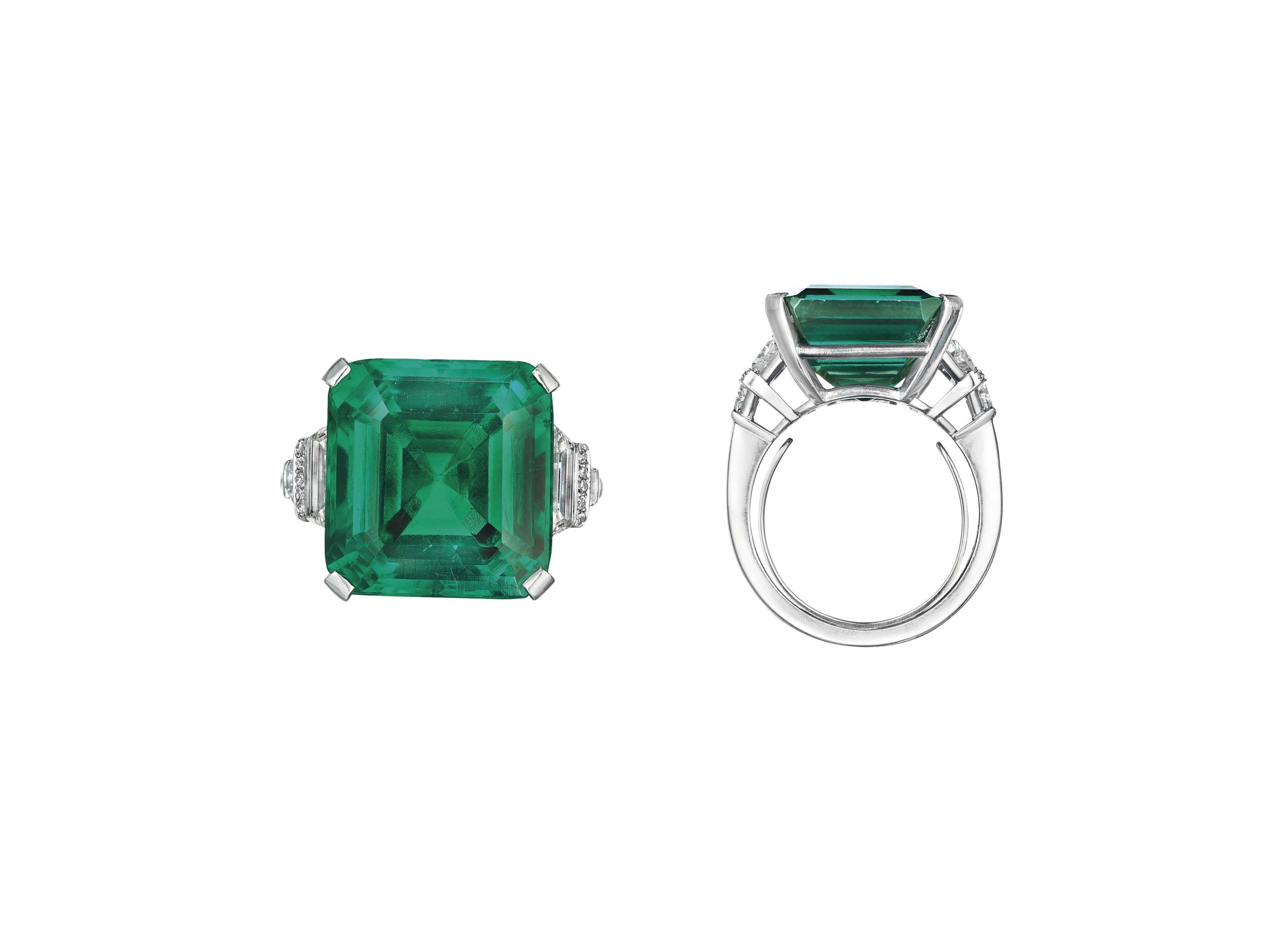 THE ROCKEFELLER EMERALD A RARE AND HISTORIC EMERALD AND DIAMOND RING, BY RAYMOND YARD