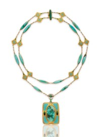 A TURQUOISE, ENAMEL AND GOLD NECKLACE, BY LOUIS COMFORT TIFFANY, TIFFANY & CO.
