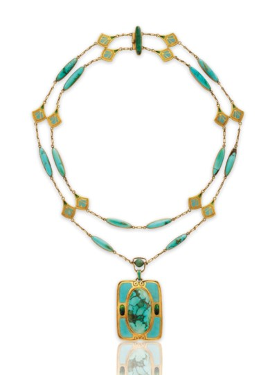 A TURQUOISE, ENAMEL AND GOLD N