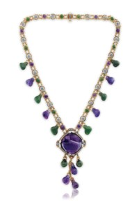 A NEPHRITE, AMETHYST AND SAPPHIRE NECKLACE, BY LOUIS COMFORT TIFFANY, TIFFANY & CO.