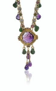 A NEPHRITE, AMETHYST AND SAPPH