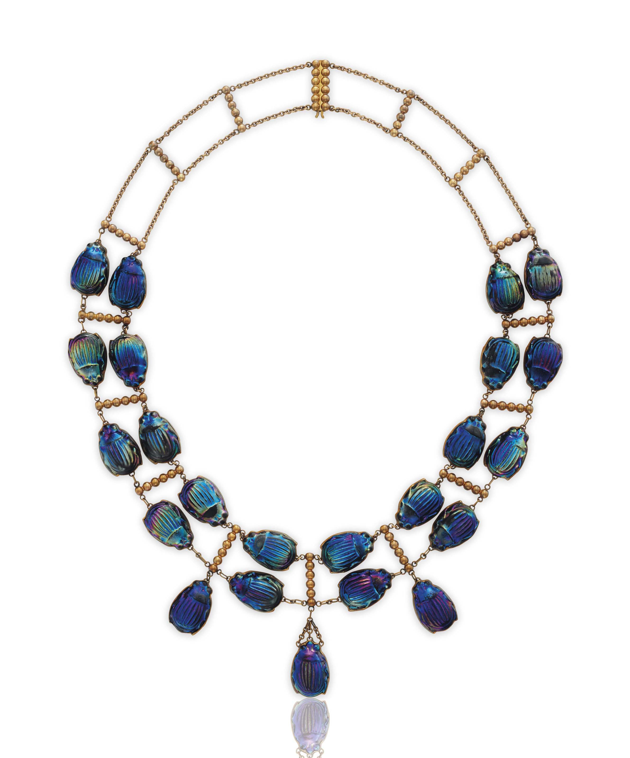 AN ICONIC FAVRILE GLASS BEETLE AND GOLD NECKLACE, BY LOUIS COMFORT TIFFANY, TIFFANY & CO.