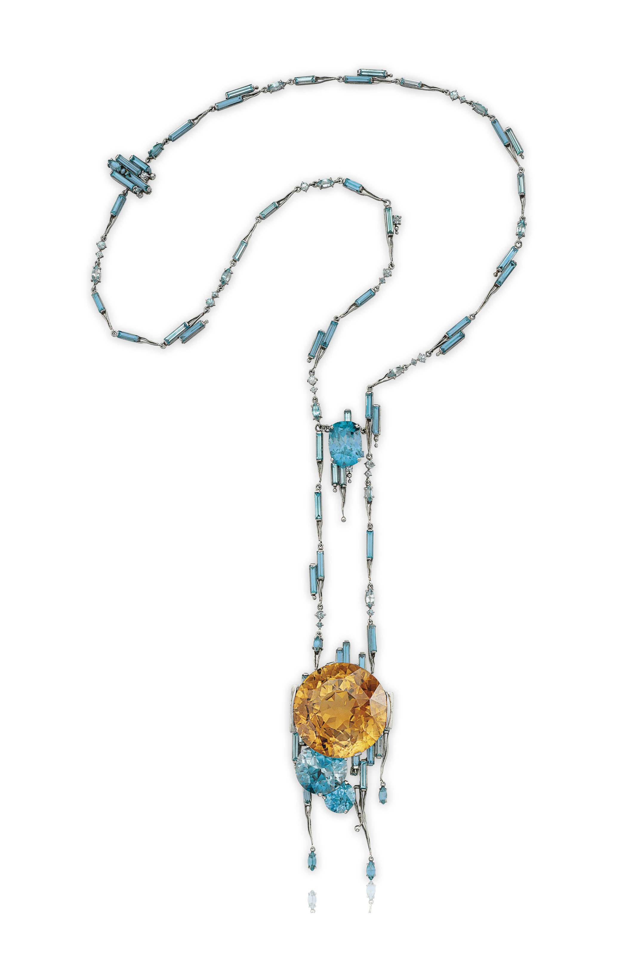 AN UNUSUAL MULTI-COLORED ZIRCON AND PLATINUM NECKLACE, BY LOUIS COMFORT TIFFANY, TIFFANY & CO.