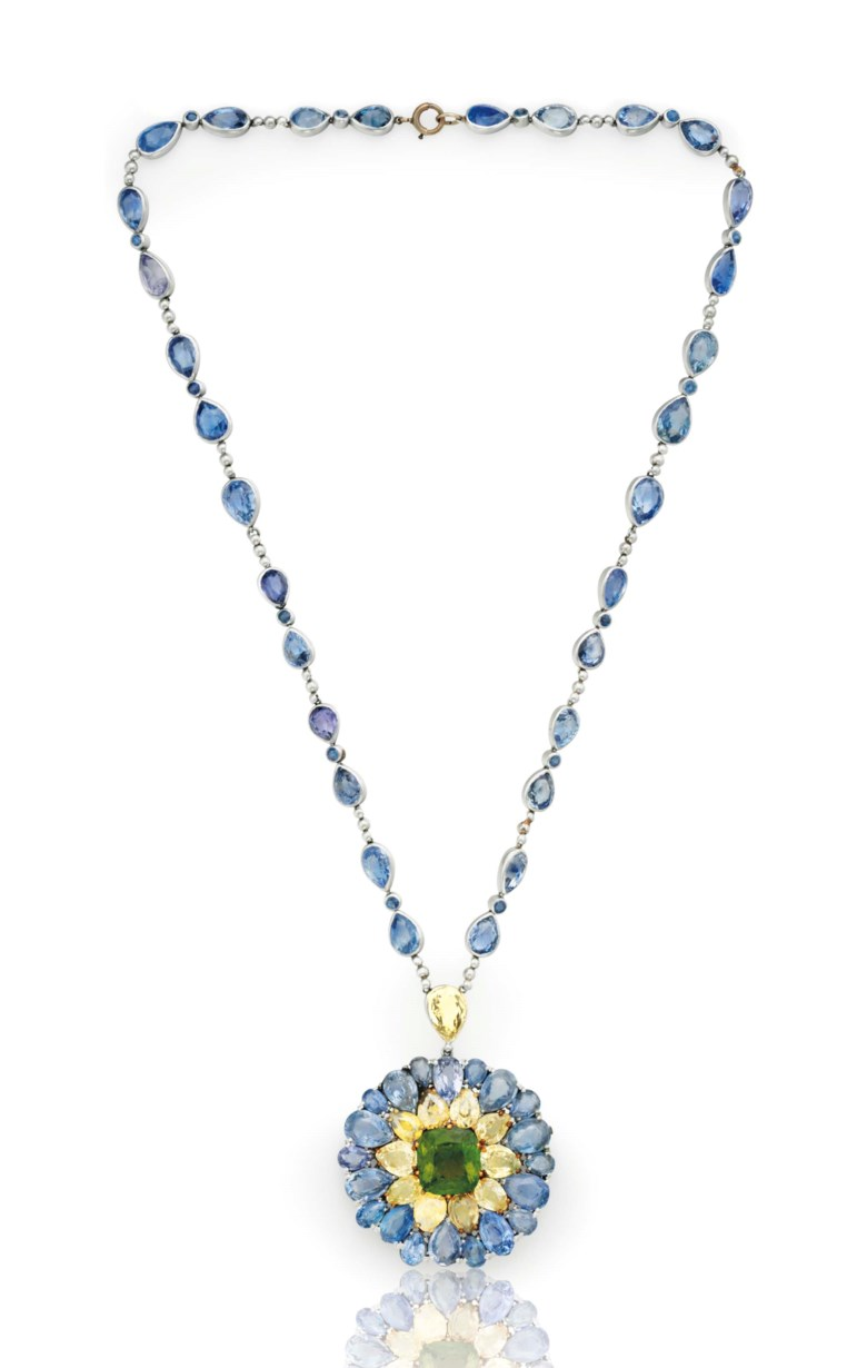 A sapphire and tourmaline pendant necklace, by Tiffany & Co. Sold for $32,500 on 20 June 2017 at Christie's in New York