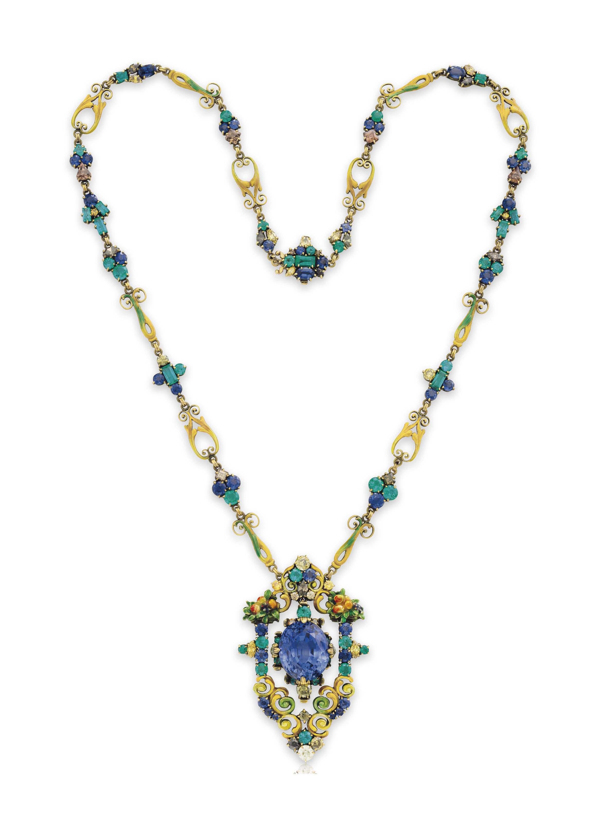 A Multi Gem Pendant Necklace By Louis Comfort Tiffany