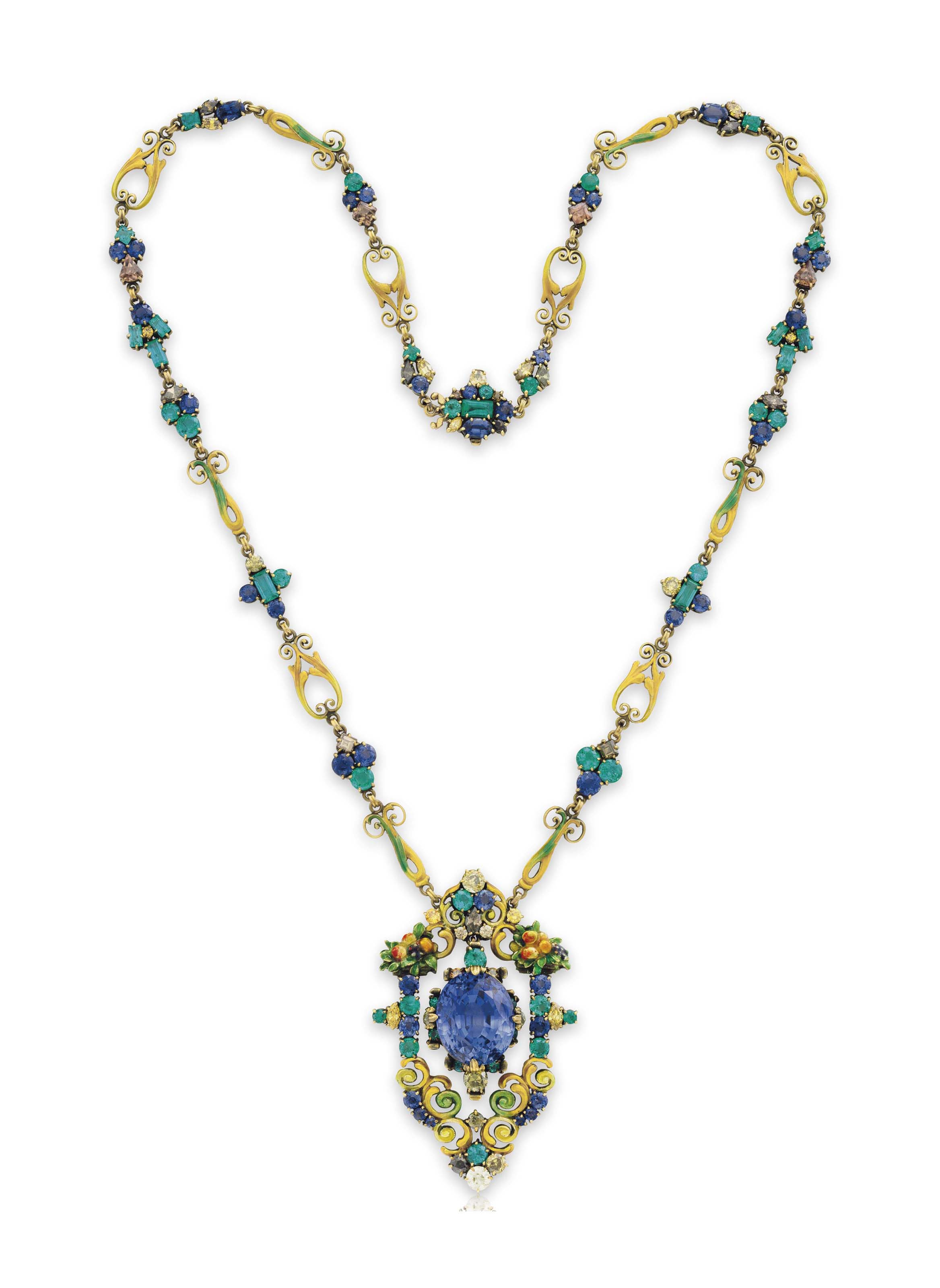 A MULTI-GEM PENDANT NECKLACE, BY LOUIS COMFORT TIFFANY, TIFFANY & CO.