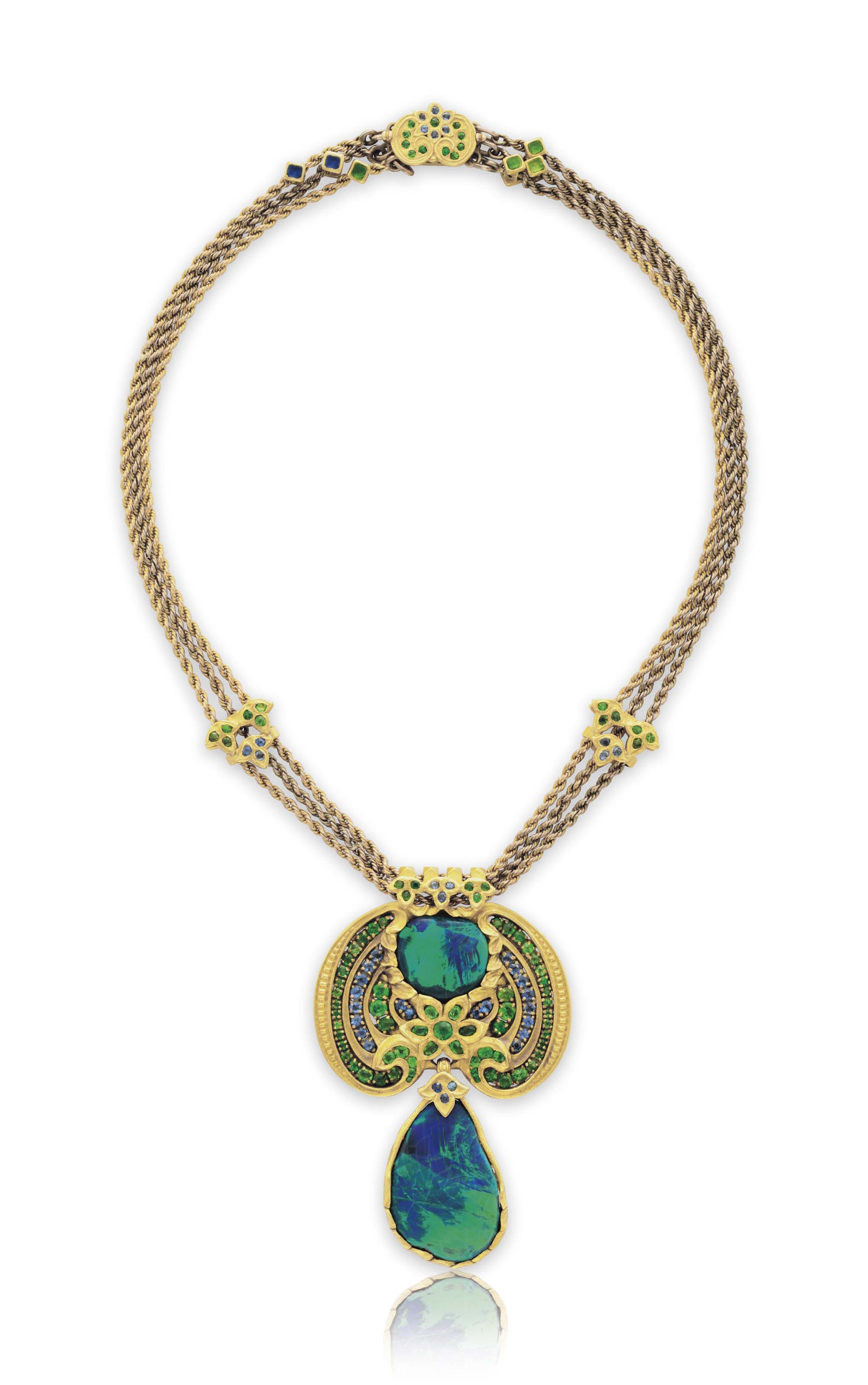 A BLACK OPAL, DEMANTOID GARNET, SAPPHIRE AND ENAMEL NECKLACE, BY LOUIS COMFORT TIFFANY, TIFFANY & CO.