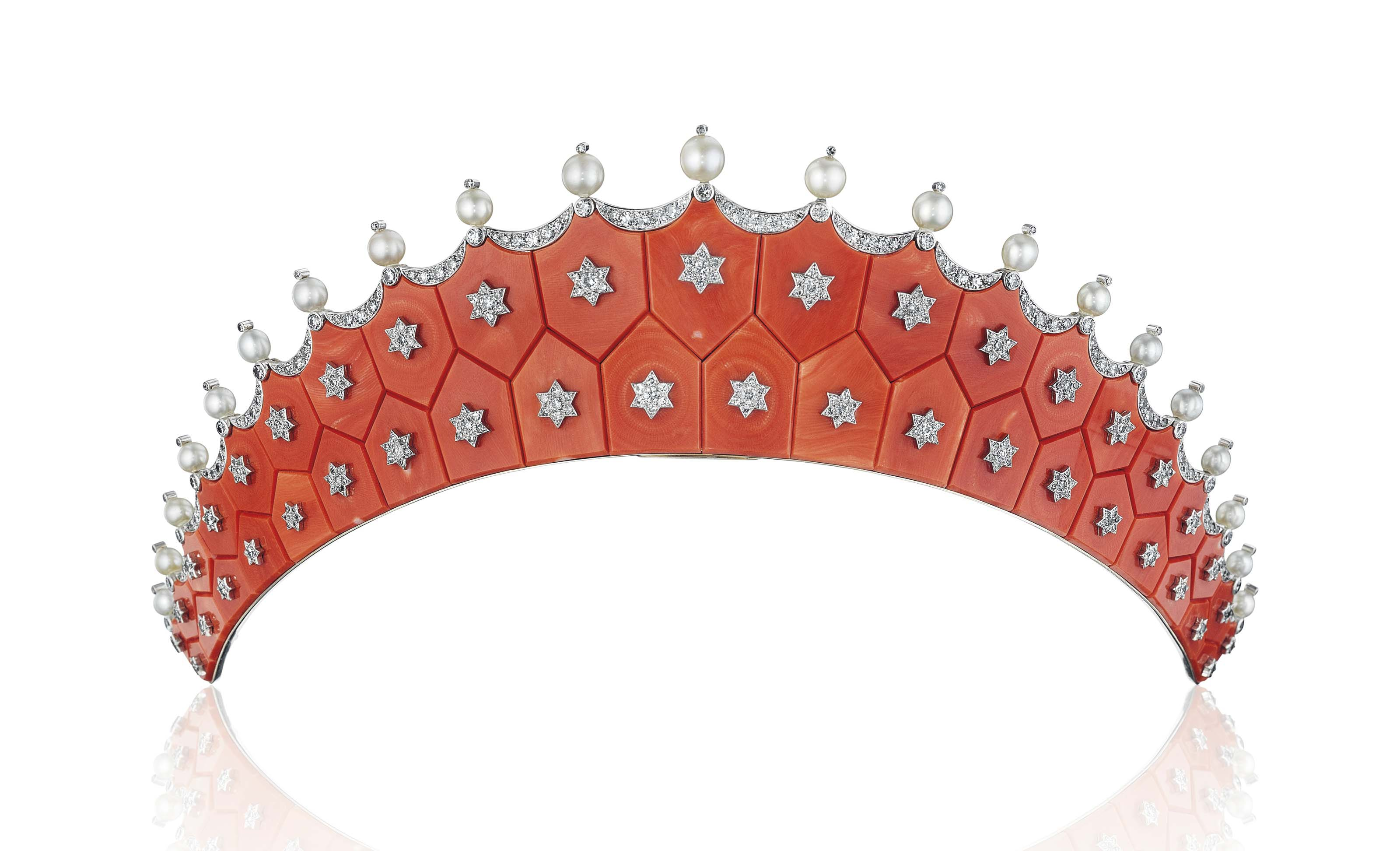 ~AN EXQUISITE CORAL, DIAMOND AND PEARL TIARA, BY CARTIER