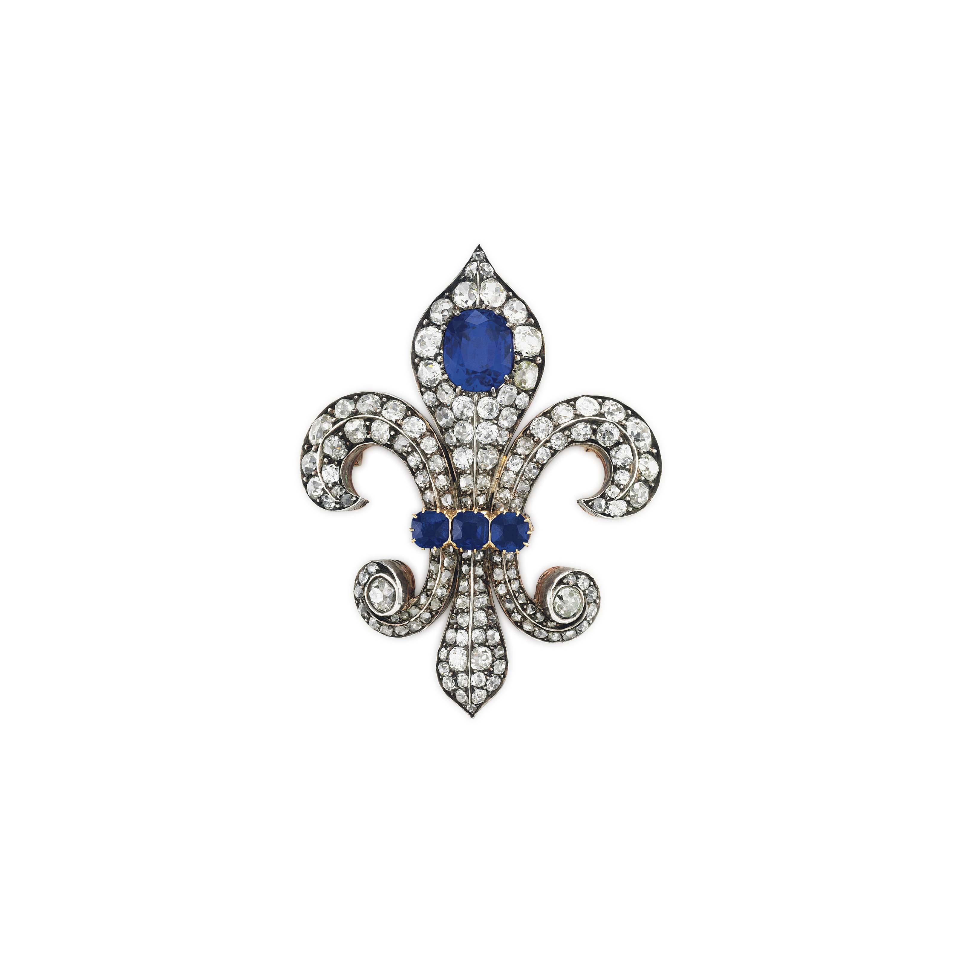 892951b43 AN ANTIQUE SAPPHIRE AND DIAMOND BROOCH | brooch, diamond | Christie's