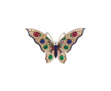 A diamond and multi-gem butterfly brooch, by Bulgari. Sold for $23,750 on 6 December 2017 at Christie's in New York