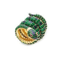 AN ENAMEL, RUBY AND GOLD WATCH BRACELET, BY GUCCI