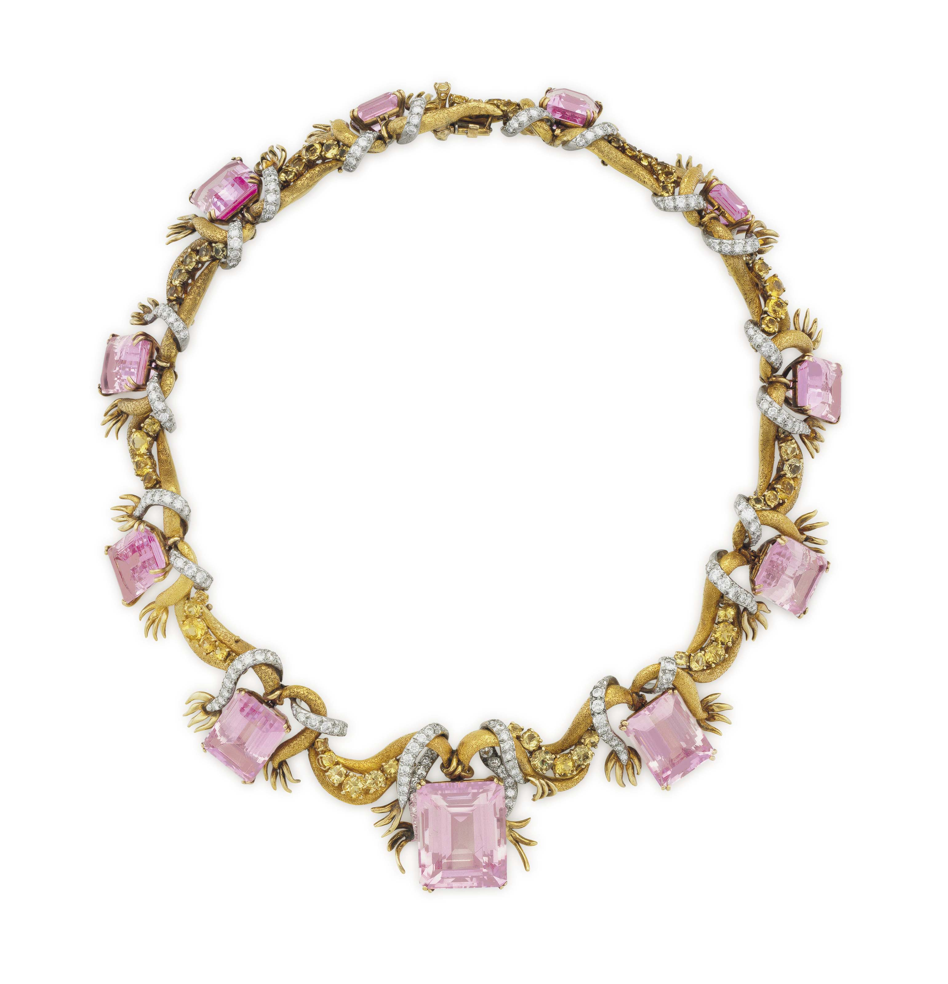 A KUNZITE, DIAMOND AND GOLD NECKLACE, BY MARY KRUMING DOUGLAS