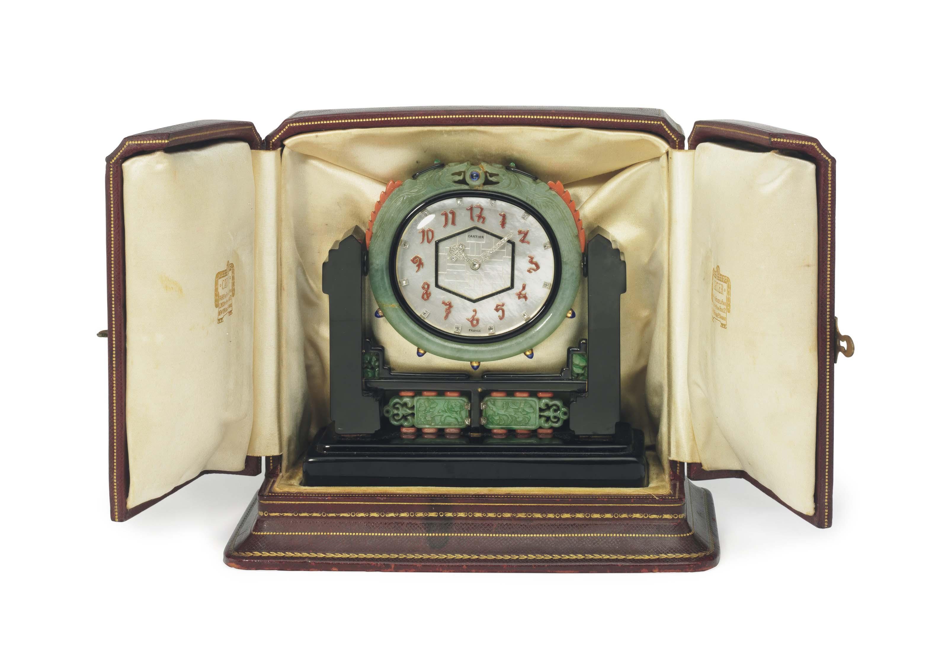 An Art Deco Multi Gem Desk Clock By Cartier 1920s Jewelry