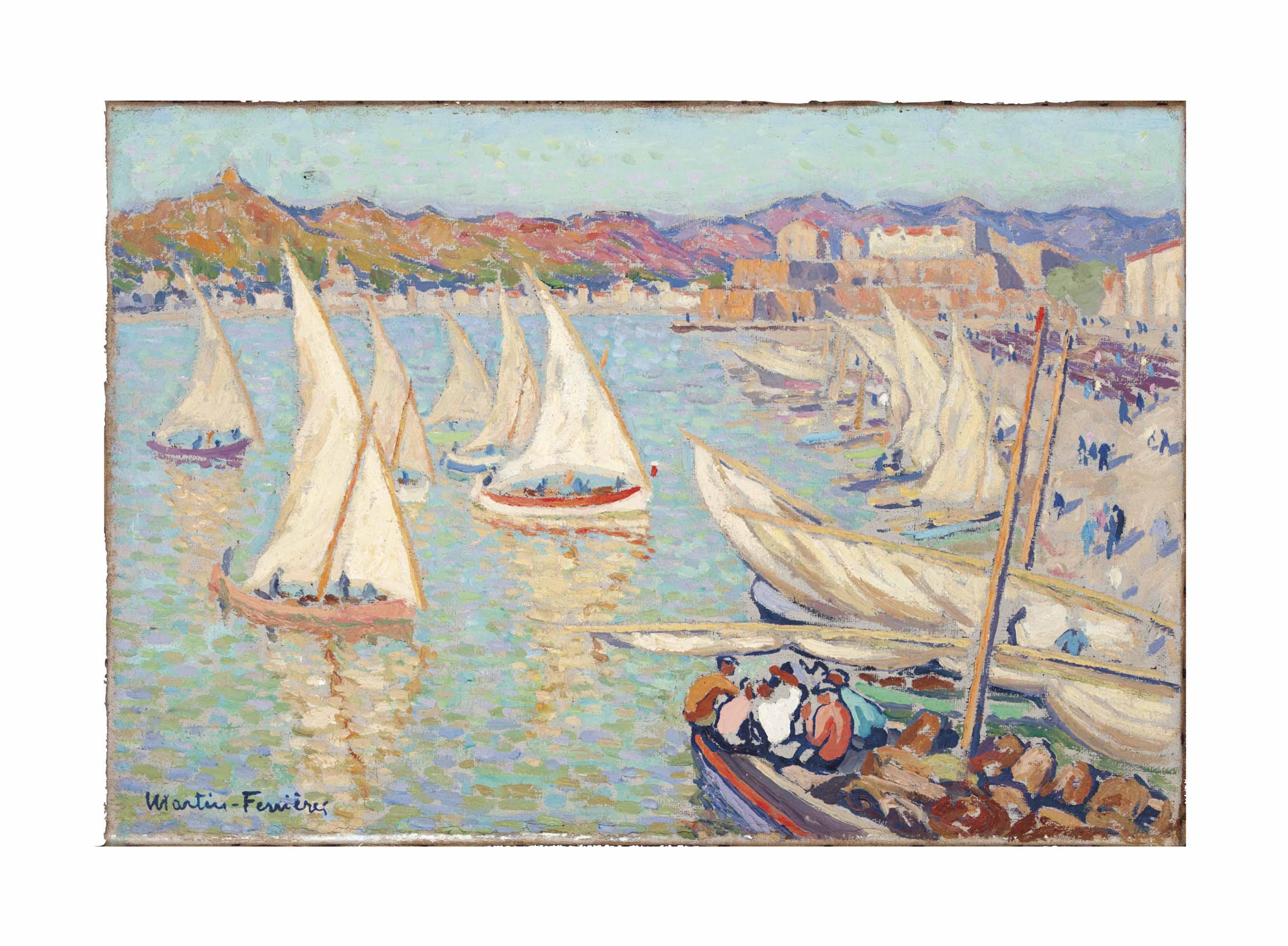 Port voiles, barques rentrant et hommes assis, Collioure