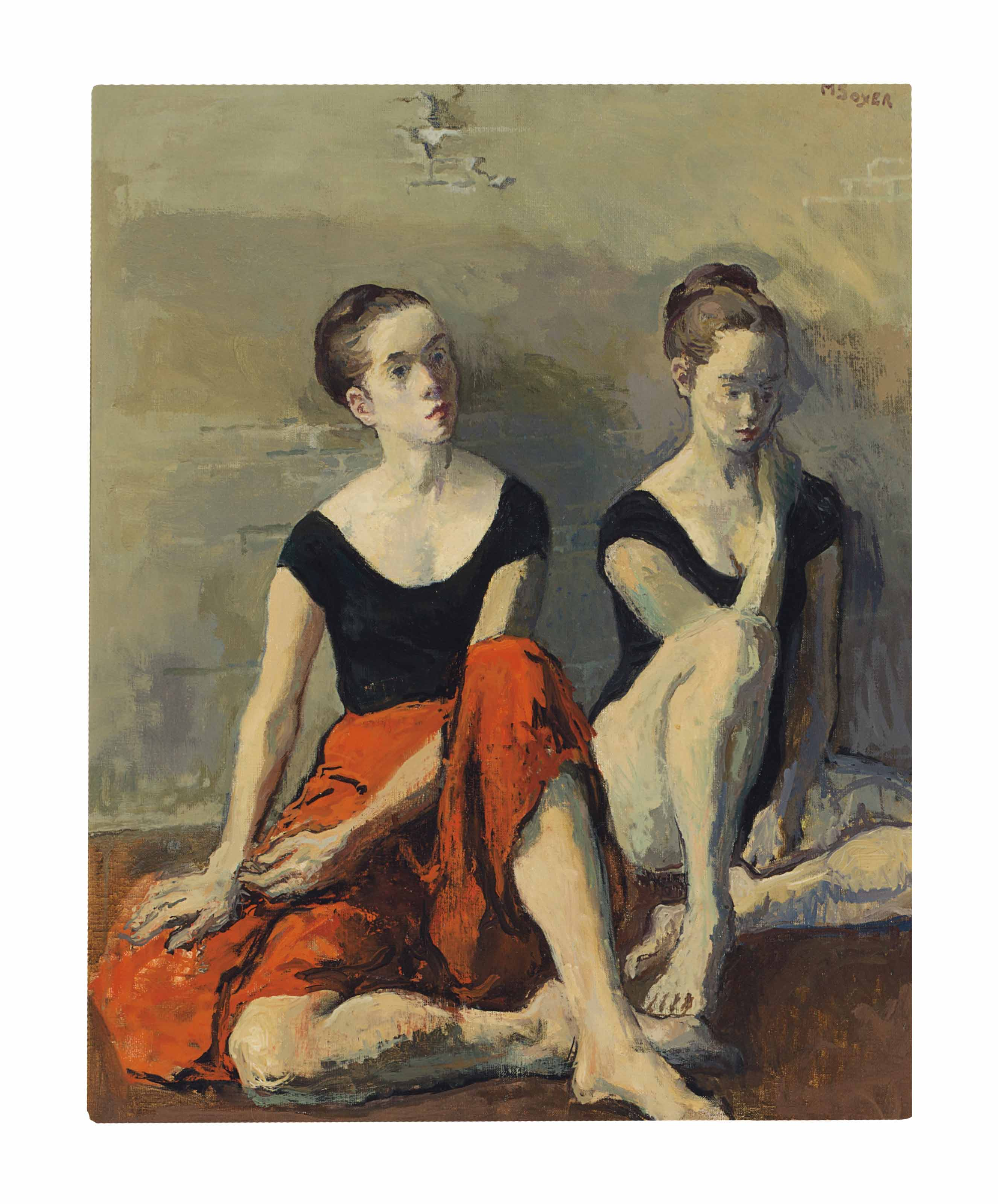 Two Dancers with Red Skirts