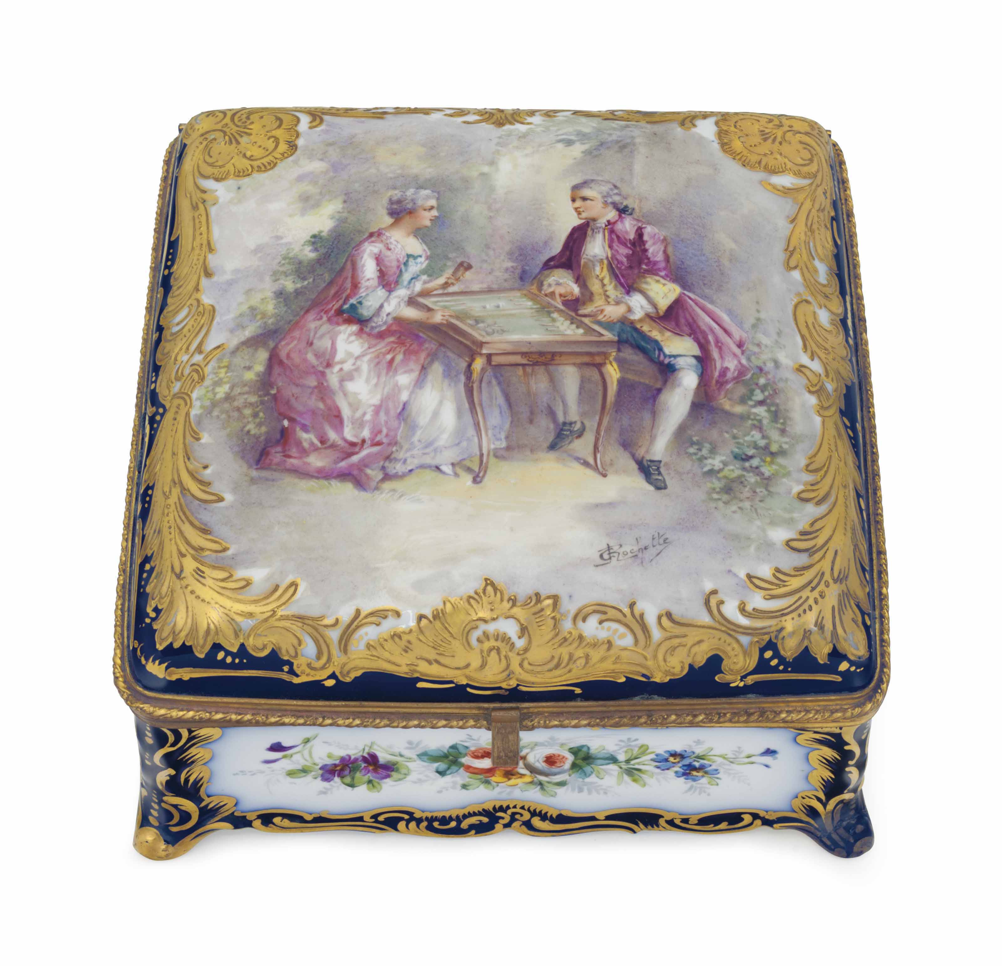 A SEVRES STYLE PORCELAIN COBALT-BLUE GROUND JEWEL-BOX AND COVER