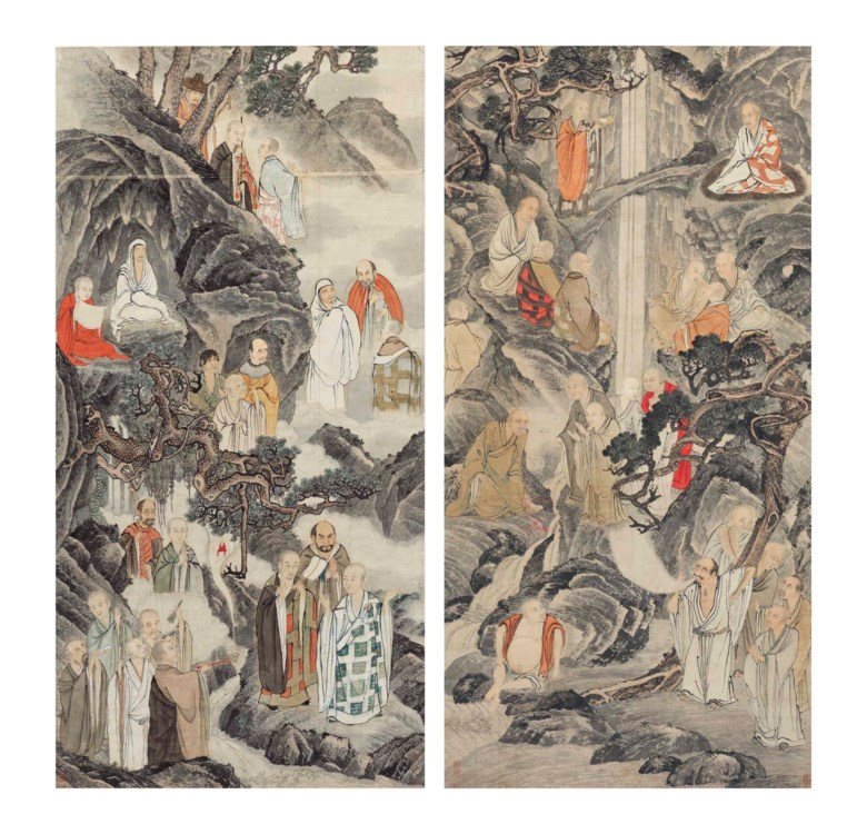 Ding Yunpeng (1547-1628)  Sheng Maoye (Active 1607-1638), Luohans. Each measures 80⅝ x 39 ¾  in (204.8 x 101  cm). Sold for $1,068,500 on 12 September 2017 at Christie's in New York