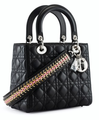 A BLACK QUILTED LEATHER LADY DIOR MEDIUM BAG WITH EMBELLISHED STRAP    SILVER HARDWARE b4fce81f612dd