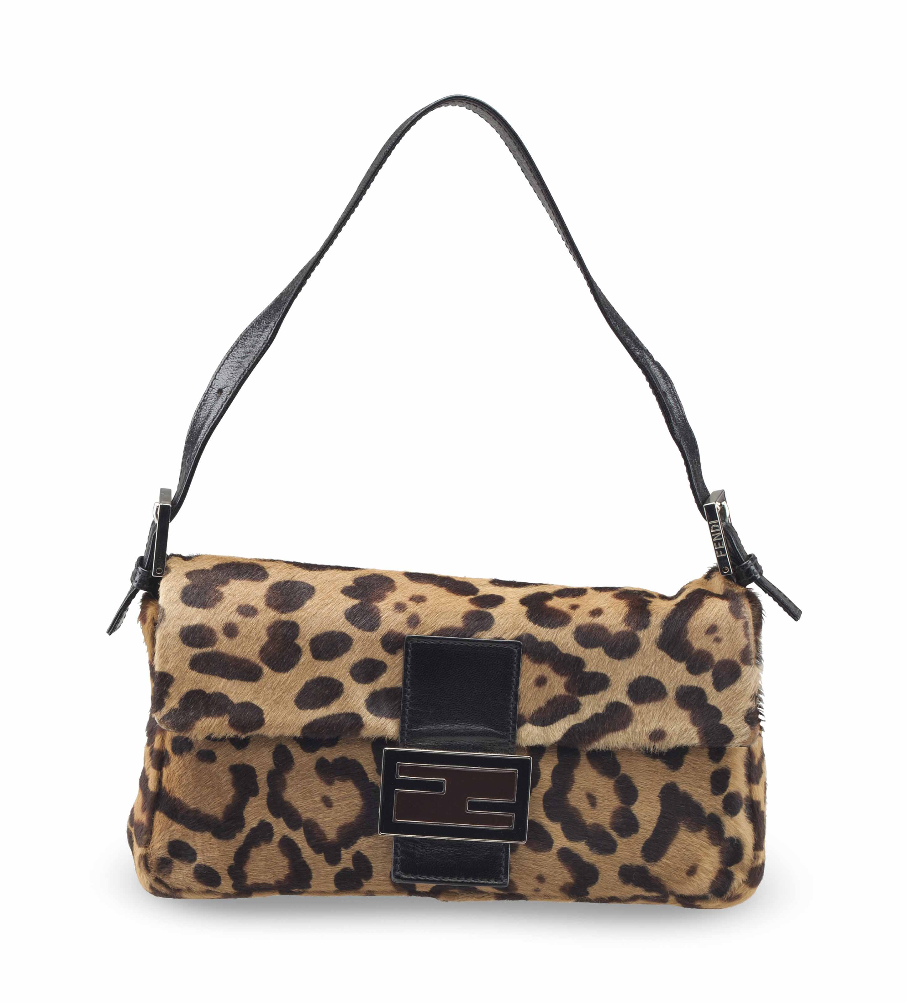 73761fe693c4 A LEOPARD PRINT PONY HAIR BAGUETTE WITH SILVER HARDWARE