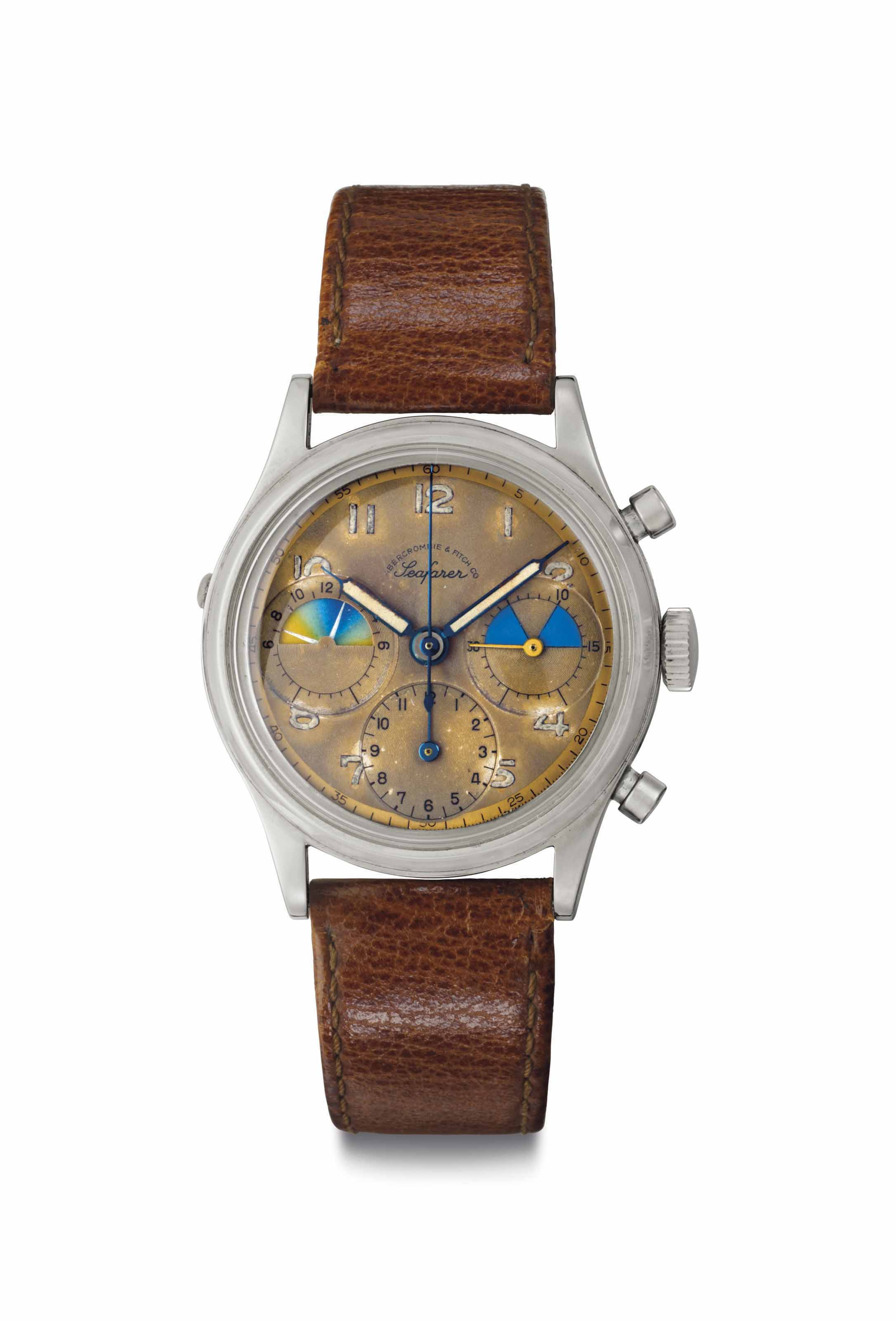 "Heuer. A Very Rare and Early Stainless Steel Chronograph Wristwatch with ""Tropical"" Dial"