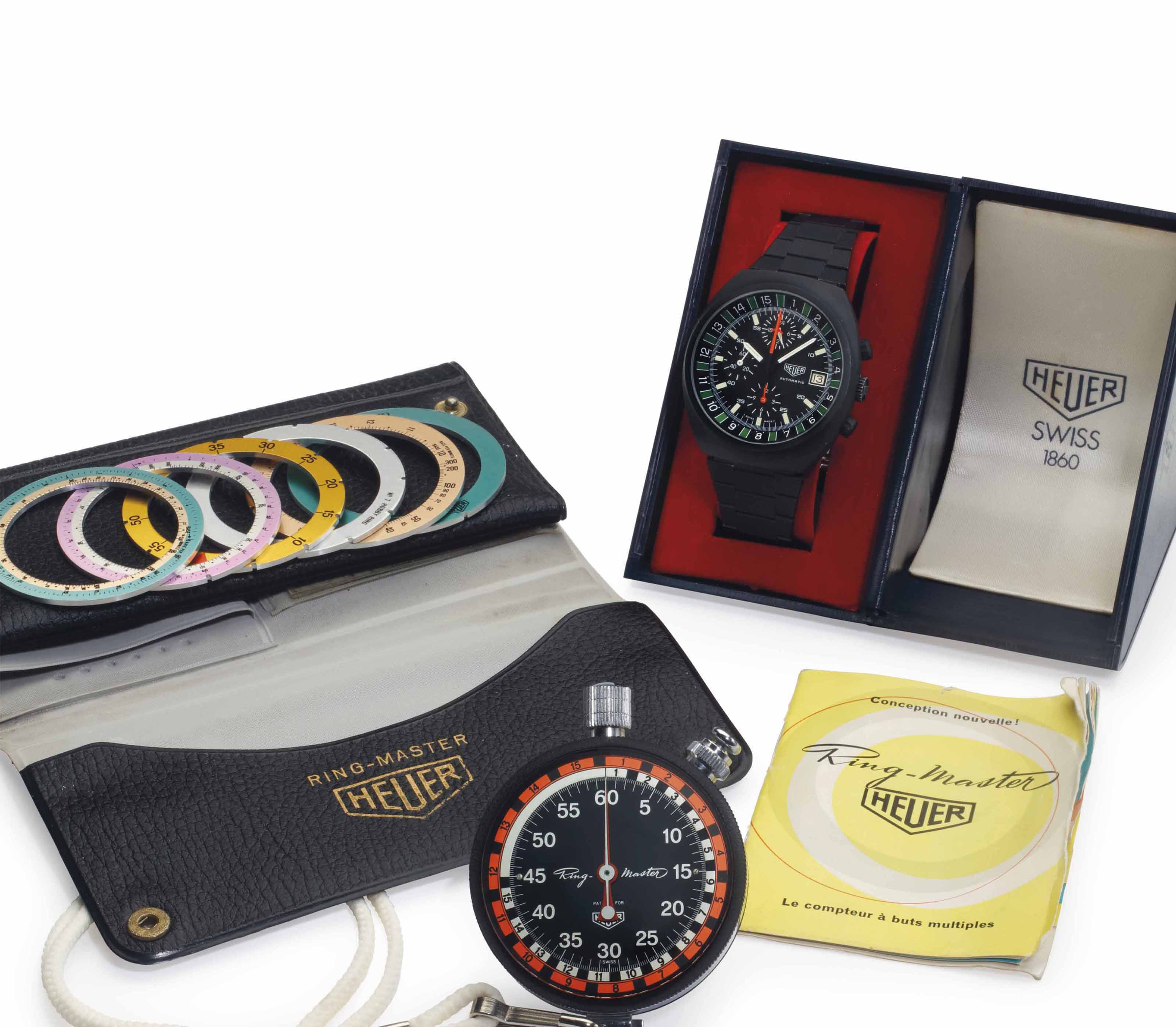 Heuer  An Extremely Rare PVD-Coated Stainless Steel Automatic Boxing