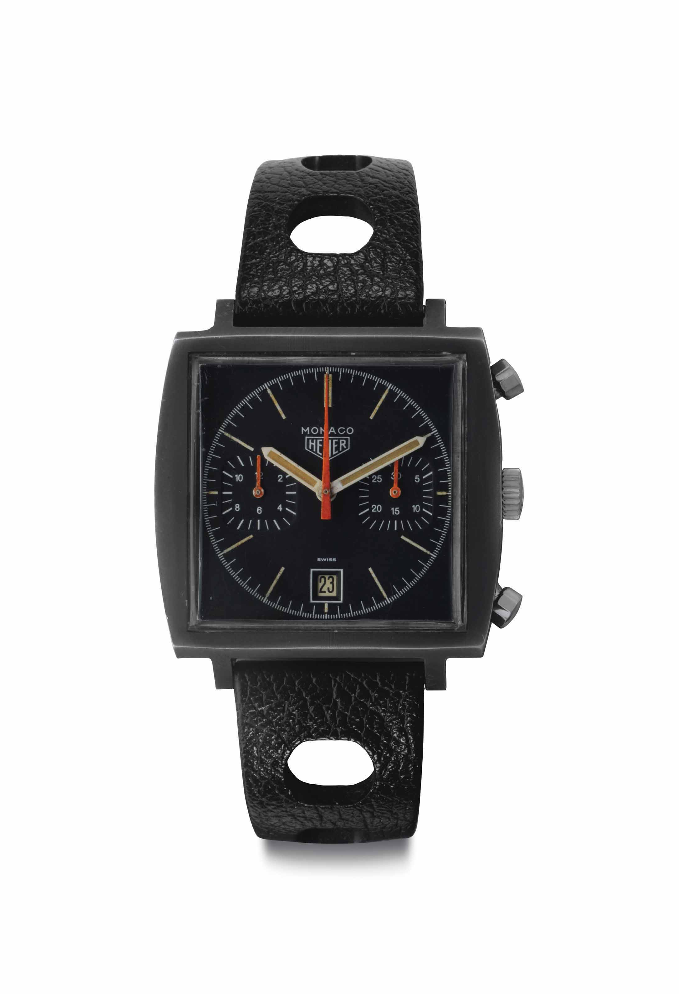 Heuer. A Rare PVD-Coated Stainless Steel Chronograph Wristwatch with Date