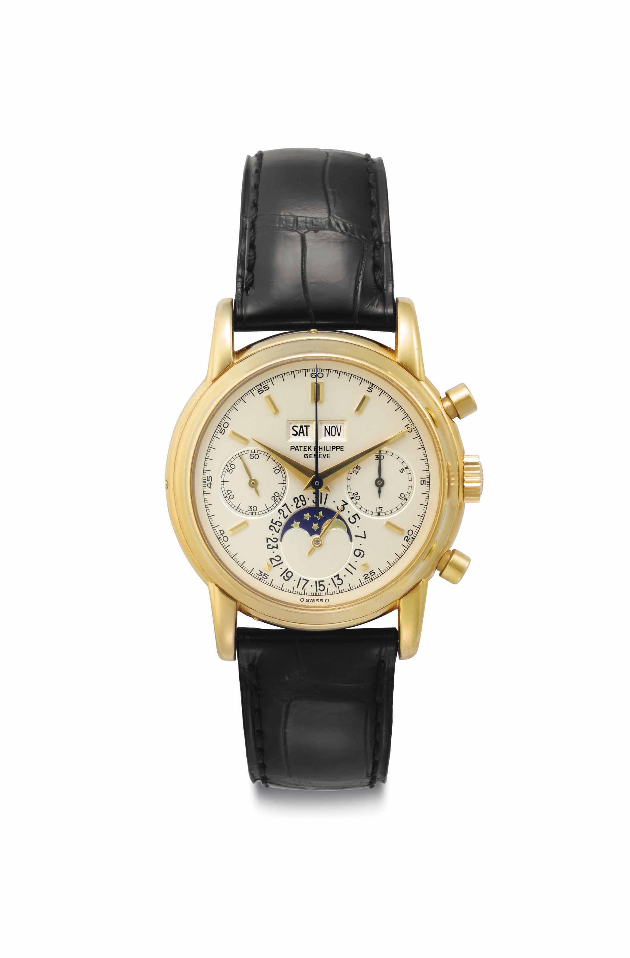 Patek Philippe. A Very Fine and Rare 18k Gold Perpetual Calendar Chronograph Wristwatch with Moon Phases