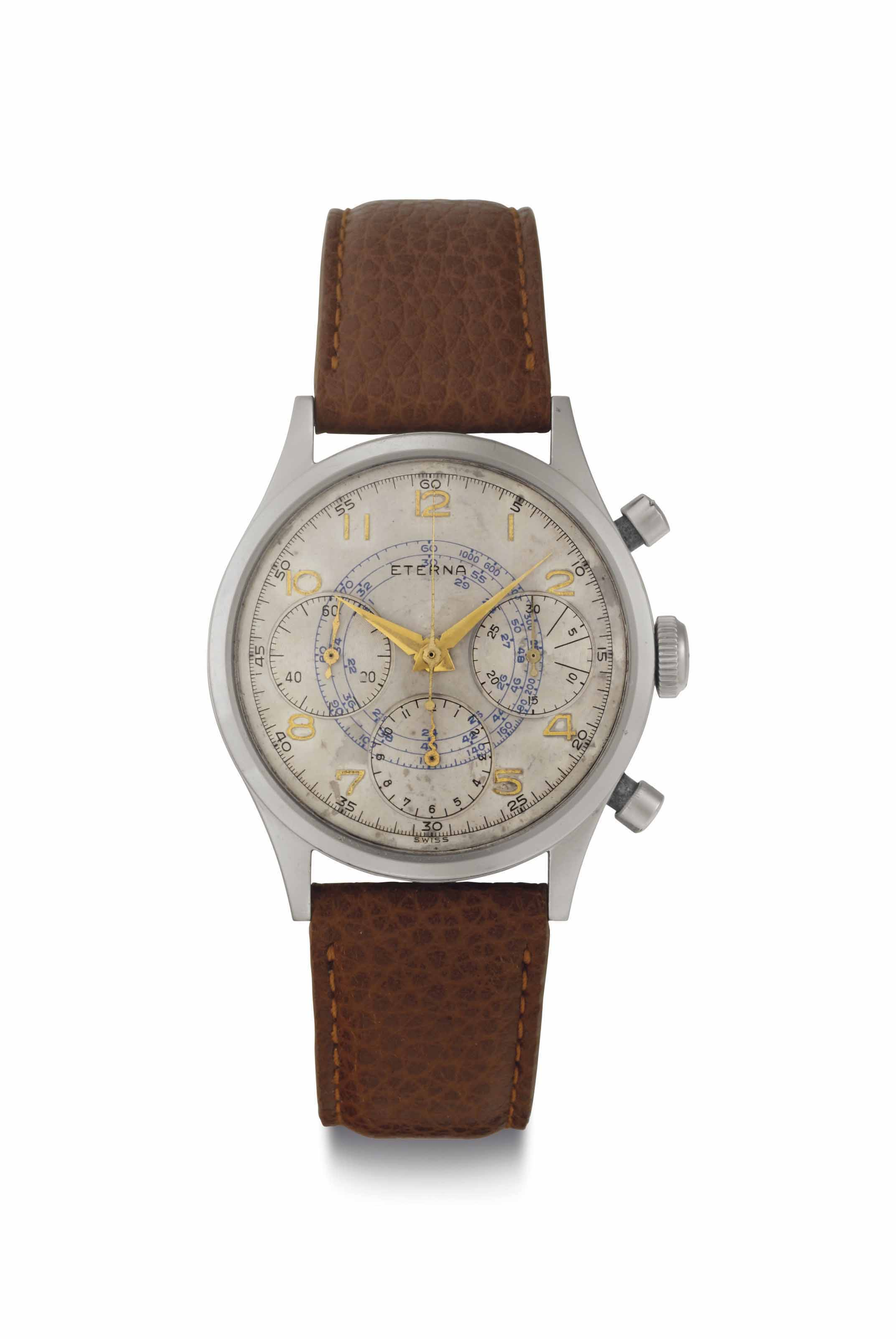 Eterna. A Fine Stainless Steel Chronograph Wristwatch