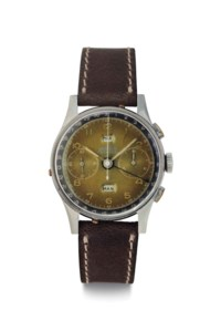 """Angelus. A Large and Rare Stainless Steel Triple Calendar Chronograph Wristwatch with """"Tropical Dial"""""""
